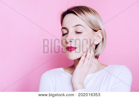 Beauty Fashion Spring Spa Girl Studio Portrait. Beautiful Young Woman On Pink Background Holiday Mak
