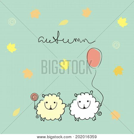 two loving sheep with balloon and candy on turquoise background with maple leaves and a handwritten title