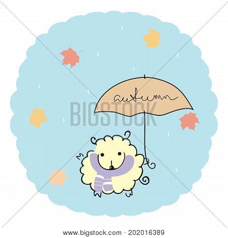 Lamb under an umbrella with a handwritten inscription