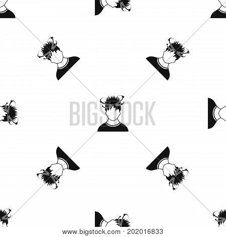 Man with dizziness pattern repeat seamless in black color for any design. Vector geometric illustration