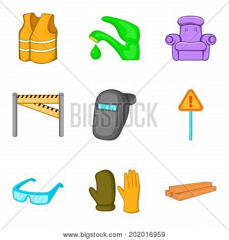 Mending icons set. Cartoon set of 9 mending vector icons for web isolated on white background