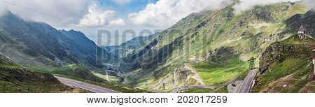 Panoramic view of the most famous and dangerous road in Europe is a Transfagarasan road in Carpathian mountains Romania.