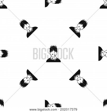 Sweaty man pattern repeat seamless in black color for any design. Vector geometric illustration