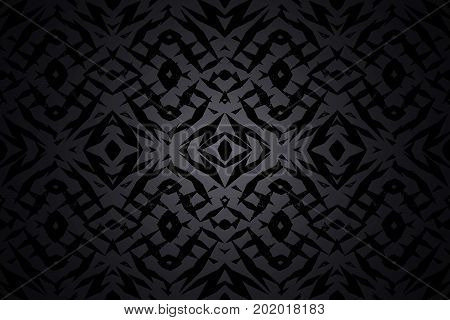Dark grey and black tribal shapes pattern with a centre spotlight