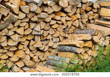 Firewood Combined In Two Ranks For A Furnace Kindling