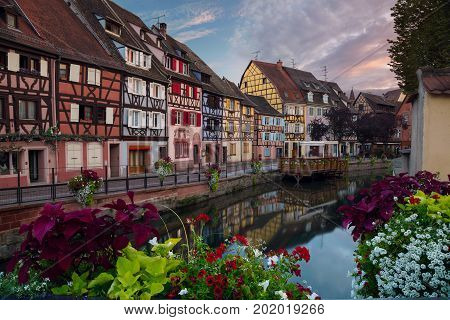 City of Colmar. Cityscape image of old town Colmar, France during sunset.
