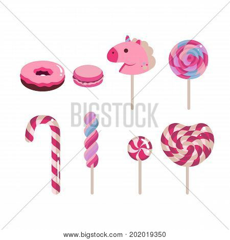 Set of flat vector candies. Candy cane, donut, macaron, caramel colored on white background. EPS10