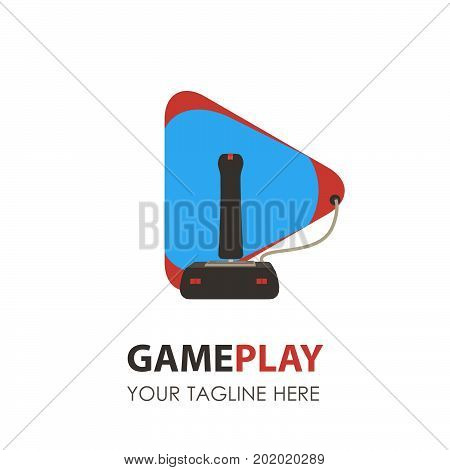 Game logo pad icon gamer gaming vector video controller design joystick console illustration