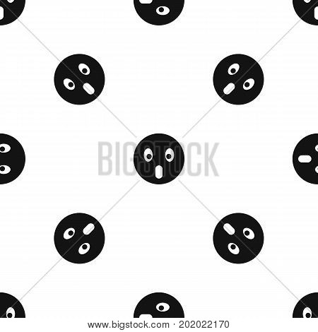 Frightened emotpattern repeat seamless in black color for any design. Vector geometric illustration