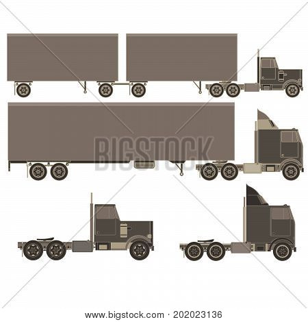 Vector cargo trucks with trailers. Fast service delivery of goods. Vehicle long-term transportation . Lorry product shipping transport. Auto style cartoon isolated on white background.