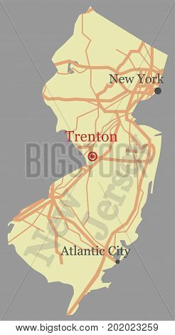 New Jersey vector accurate high detailed State Map with Community Assistance and Activates Icons Original pastel Illustration