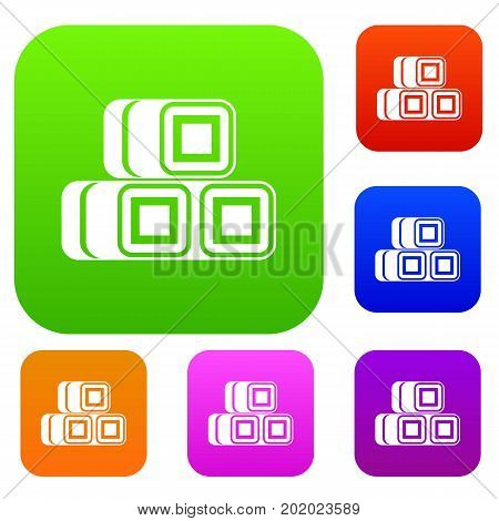 Hay bundles set icon in different colors isolated vector illustration. Premium collection