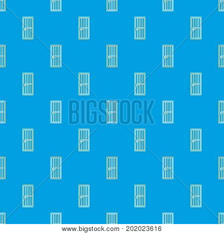 Steel door pattern repeat seamless in blue color for any design. Vector geometric illustration