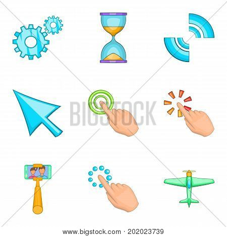 Press icons set. Cartoon set of 9 press vector icons for web isolated on white background