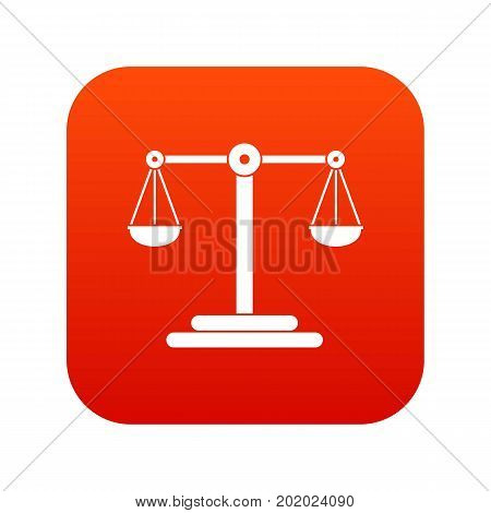 Scales balance icon digital red for any design isolated on white vector illustration