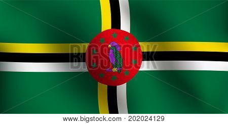 Flag of Dominica with a little Waving Shading & Flag Colors separated layers - Vector Illustration
