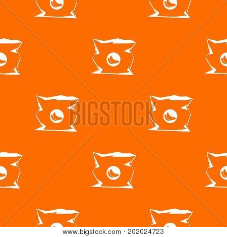 Crumpled bag of chips pattern repeat seamless in orange color for any design. Vector geometric illustration