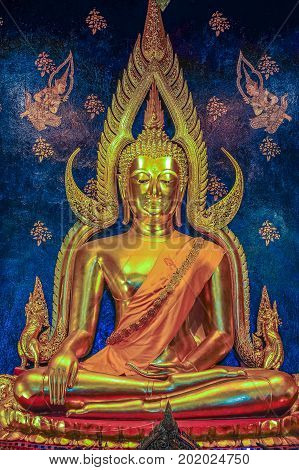 Beautiful Buddha image in Buddhist church in Phitsanulok Thailand. In Thailand Buddhist temples are public domain any art decorated in church or temple is treasury of Buddhism no limitation in use or copy.