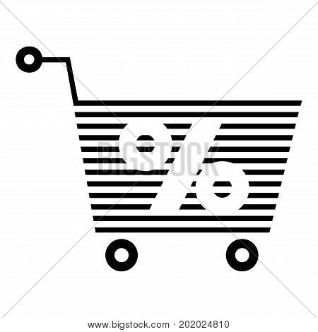 Percent trolley icon. Simple illustration of percent trolley vector icon for web