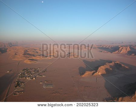 A spectacular balloon flight over the desert Wadi Rum in Jordan, early morning.