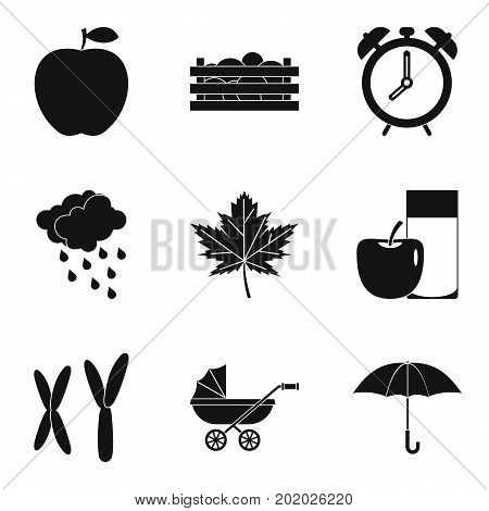 Chromosome icons set. Simple set of 9 chromosome vector icons for web isolated on white background