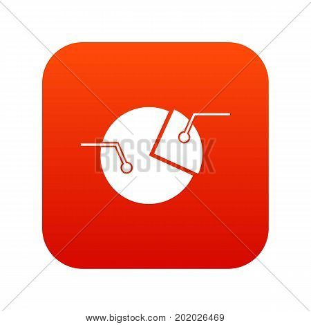 Percentage diagram icon digital red for any design isolated on white vector illustration