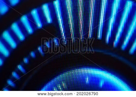 Light emitting diodes nacro for LED display. Digital LED screen blue background