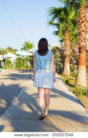 Back View Of Young Woman Walking On Summer Beach
