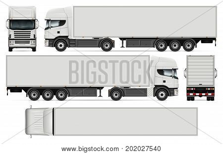 Semi-trailer truck vector mock-up for car branding and advertising. Cargo vehicle set on white. All layers and groups well organized for easy editing and recolor. View from side front back top.