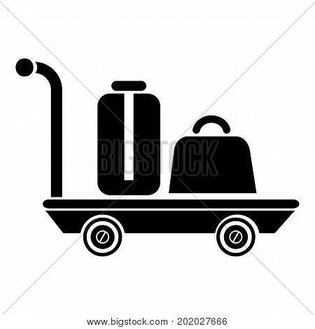 Luggage trolley icon. Simple illustration of luggage trolley vector icon for web