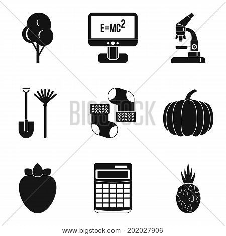 Microcosm icons set. Simple set of 9 microcosm vector icons for web isolated on white background