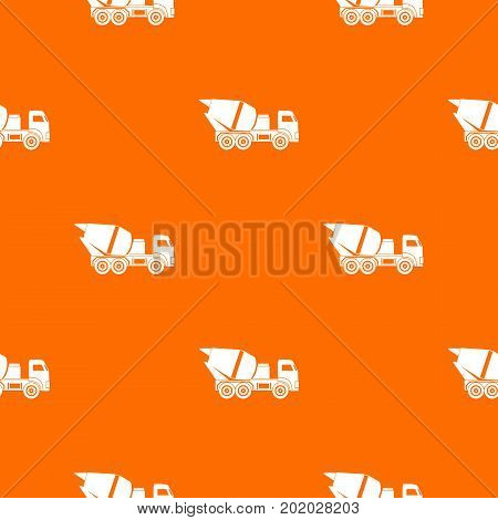 Building mixer for concrete pattern repeat seamless in orange color for any design. Vector geometric illustration
