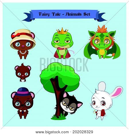 Collection of cute fairy tale animal characters