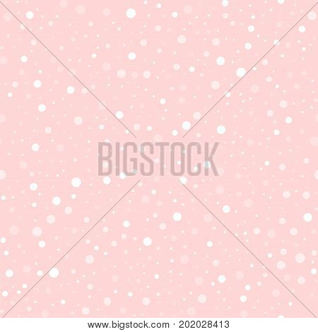 White Polka Dots Seamless Pattern On Pink Background. Outstanding Classic White Polka Dots Textile P