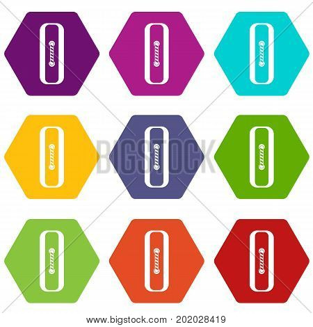 Sewn rectangular button icon set many color hexahedron isolated on white vector illustration