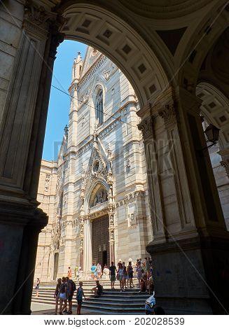 Naples Italy - August 8 2017. Principal facade of Cattedrale metropolitana Santa Maria Assunta cathedral Duomo di Napoli. Naples Campania Italy.
