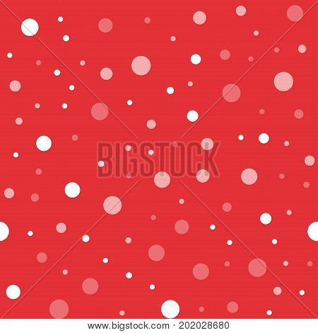 White Polka Dots Seamless Pattern On Red Background. Amazing Classic White Polka Dots Textile Patter