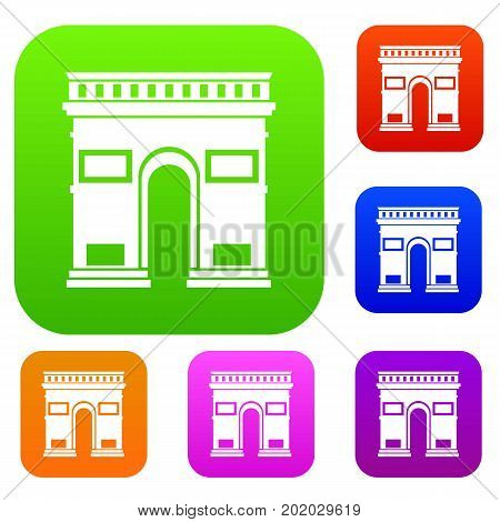 Triumphal arch set icon in different colors isolated vector illustration. Premium collection