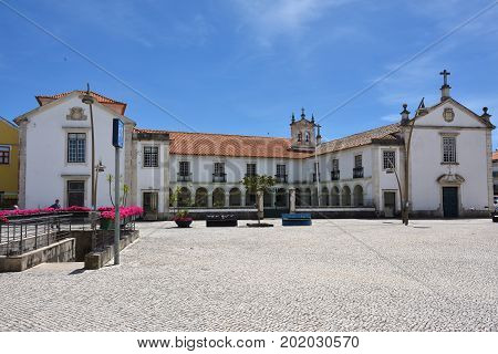 Aveiro Portugal - June 10 2017: Square Marques Pombal in Aveiro. One from the most tourist destination city in Portugal. Also known as Venice of Portugal.