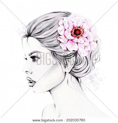 Watercolor fashion illustration of young beautiful girl