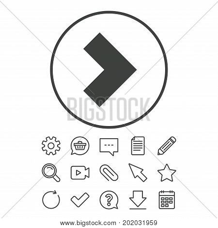 Arrow sign icon. Next button. Navigation symbol. Document, Chat and Paper clip line signs. Question, Pencil and Calendar line icons. Star, Download and Shopping cart. Vector