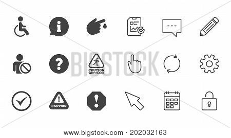 Attention notification icons. Question mark and information signs. Injury and disabled person symbols. Chat, Report and Calendar line signs. Service, Pencil and Locker icons. Vector
