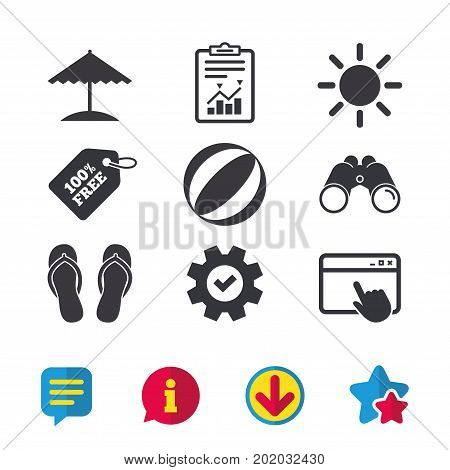 Beach holidays icons. Ball, umbrella and flip-flops sandals signs. Summer sun symbol. Browser window, Report and Service signs. Binoculars, Information and Download icons. Stars and Chat. Vector