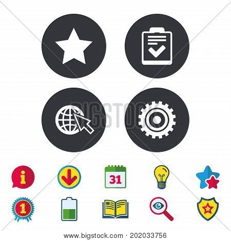 Star favorite and globe with mouse cursor icons. Checklist and cogwheel gear sign symbols. Calendar, Information and Download signs. Stars, Award and Book icons. Light bulb, Shield and Search. Vector