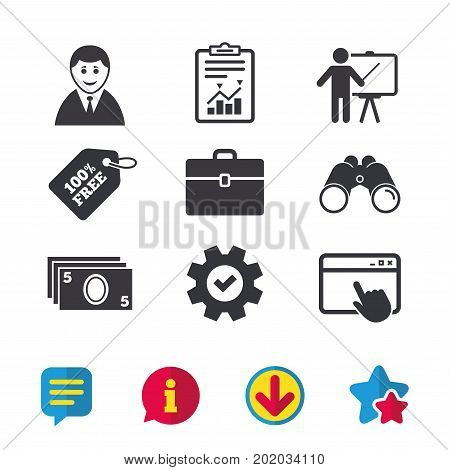 Businessman icons. Human silhouette and cash money signs. Case and presentation symbols. Browser window, Report and Service signs. Binoculars, Information and Download icons. Stars and Chat. Vector