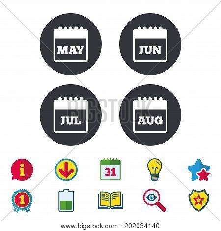 Calendar icons. May, June, July and August month symbols. Date or event reminder sign. Calendar, Information and Download signs. Stars, Award and Book icons. Light bulb, Shield and Search. Vector