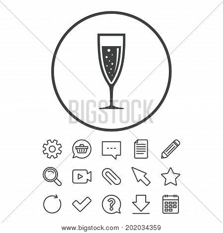 Glass of champagne sign icon. Sparkling wine with bubbles. Celebration or banquet alcohol drink symbol. Document, Chat and Paper clip line signs. Question, Pencil and Calendar line icons. Vector
