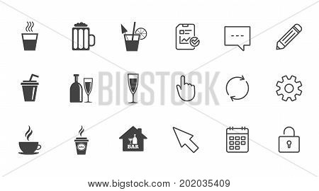 Cocktail, beer icons. Coffee and tea drinks. Soft and alcohol drinks symbols. Chat, Report and Calendar line signs. Service, Pencil and Locker icons. Click, Rotation and Cursor. Vector