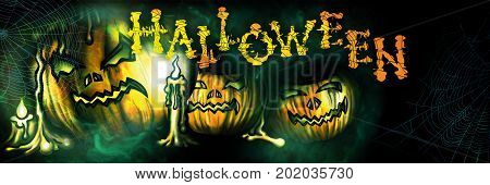 Halloween banner with sinister pumpkins candles and spiderwebs in the mist. Handmade text
