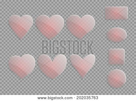 Translucent glass hearts on a checkered background. Elements of a romantic design on a transparent backdrop. Vector illustration